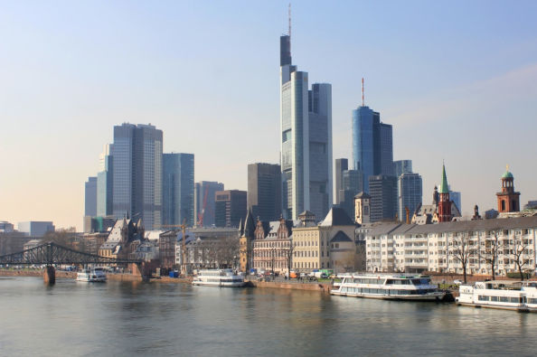 The financial district of Frankfurt seen from the boat