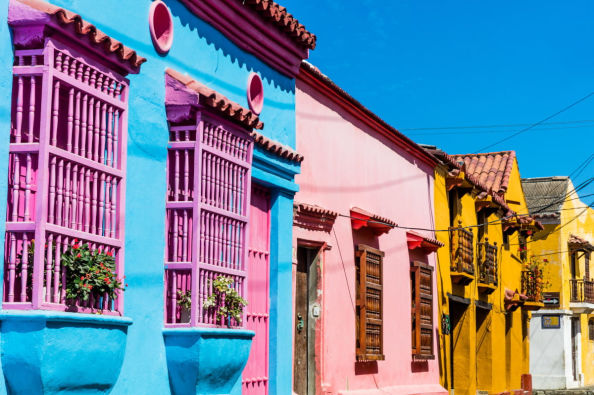 Colourful houses in the Getsemani district