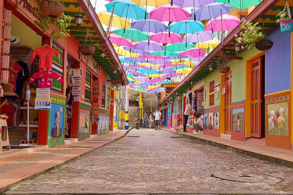 Colorful umbrellas in the streets of Guatapé