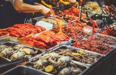 Clase de cocina coreana con comida