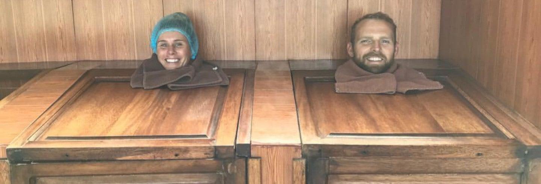 Boîte de sauna à vapeur au Refugio Spa