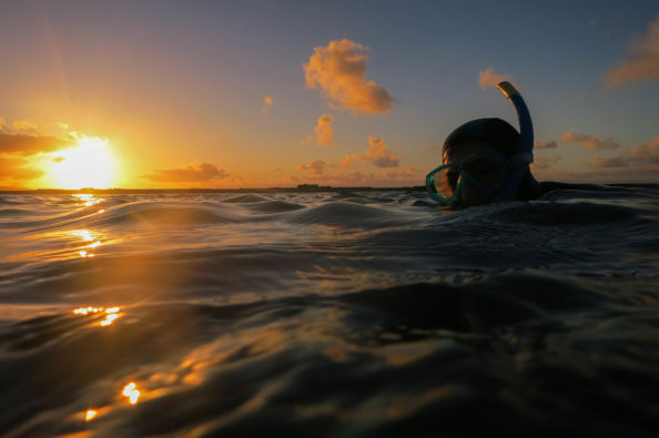 Snorkelling at sunset off the coast of Gran Canaria