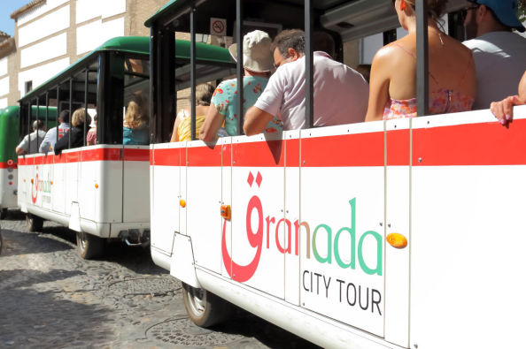Seeing the sights of Granada on the tourist train