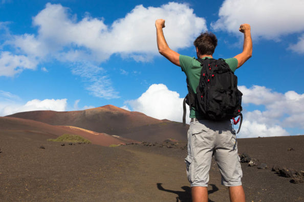 Enjoying the volcanic landscapes of Lanzarote