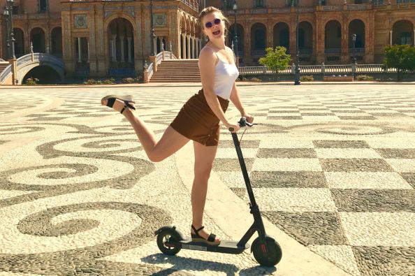 Enjoying the electric scooter tour