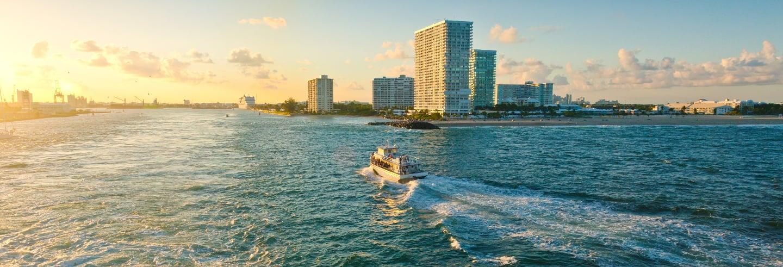 Passeio de barco ao entardecer por Fort Lauderdale