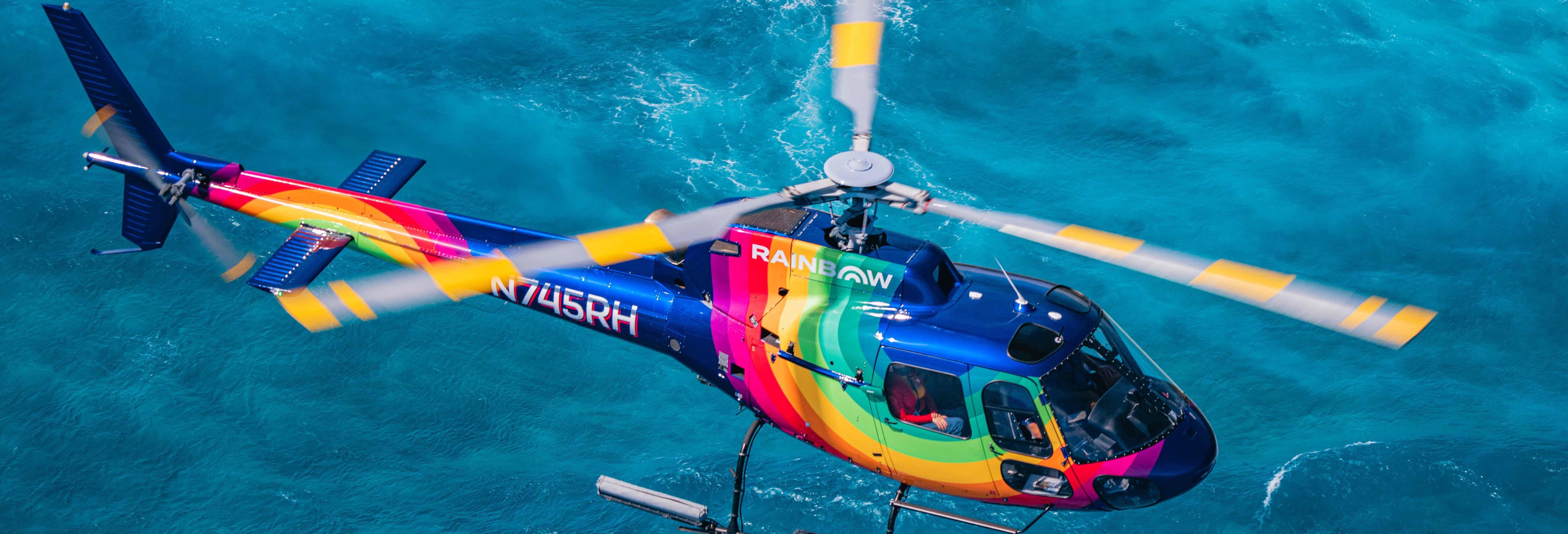 Balade en hélicoptère au-dessus d'Honolulu au coucher de soleil