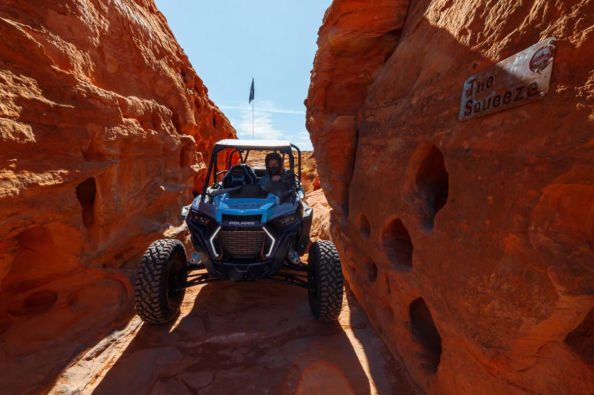 Driving the buggy along West Rim