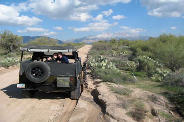 On board the Hummer H1 in the Sonoran Desert