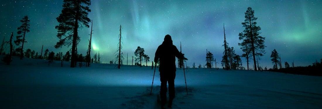 Tour de la aurora boreal en raquetas de nieve