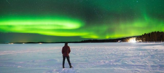 Giro in motoslitta sotto l'aurora boreale