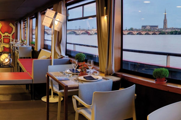 Views of Bordeaux from the boat's restaurant