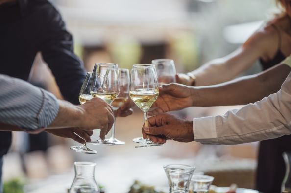 A toast during the wine tasting