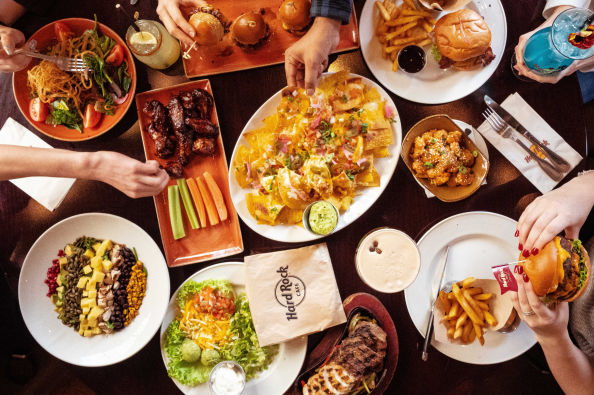Appetizers and main courses at the Hard Rock Cafe Florence