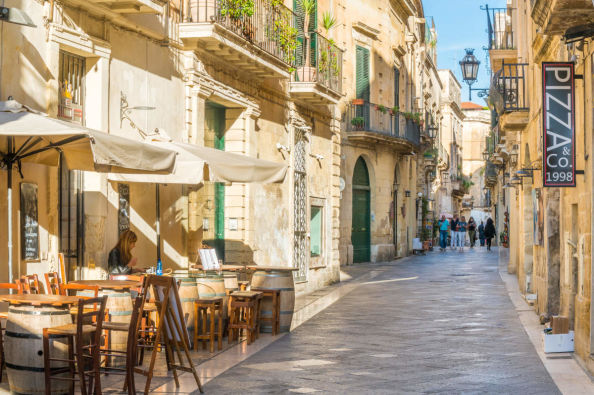 A traditional street in Lecce