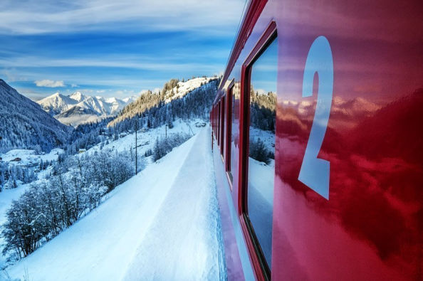 Passing through the Alps in the Bernina Express