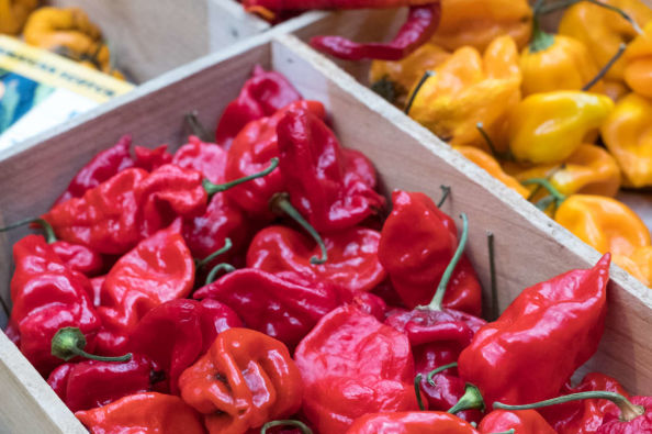 Italian peppers in the market