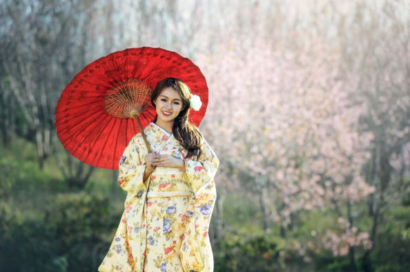 Dressed in a traditional kimono