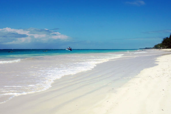 Crystal clear water at Diani beach