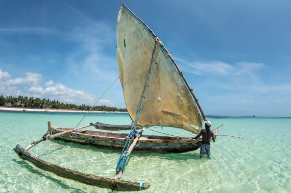 Typical boat at Diani beach