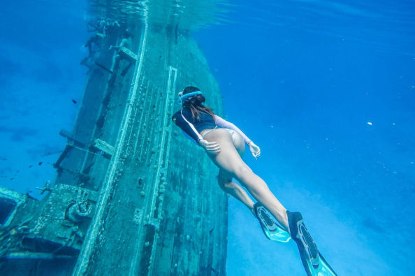 Snorkeling in a shipwreck site