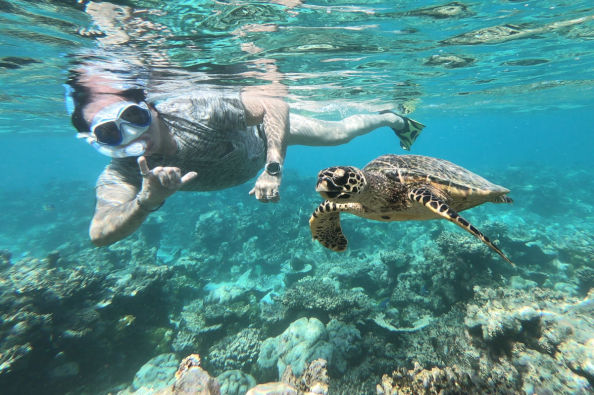 Snorkelling with turtles in the Maldives