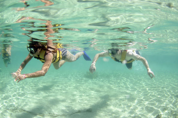 Snorkelling in the lagoon