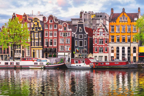 Boat bouses along the canals of Amsterdam