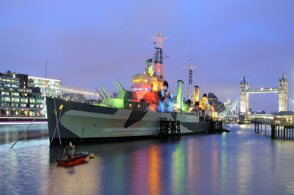 View of the HMS Belfast at nighttime