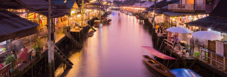 Mercado sobre la vía y mercado flotante nocturno de Amphawa