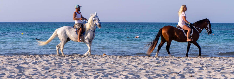 Paseo a caballo por la laguna de Djerba