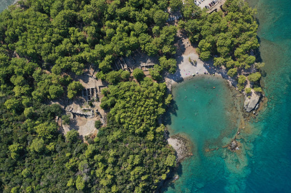 Aerial view of Phaselis Bay