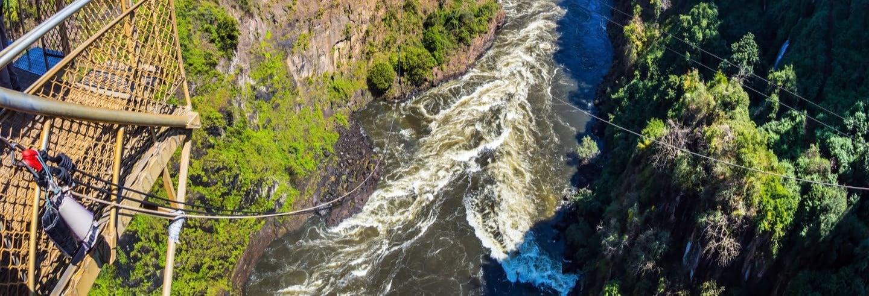Tyrolienne au-dessus du fleuve Zambèze